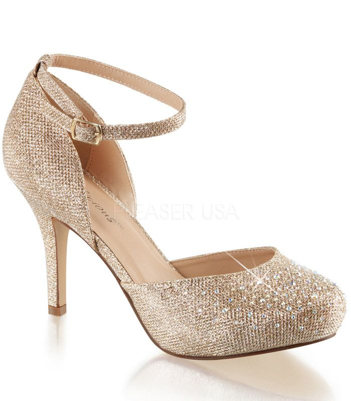"Gold Sparkle Covet Ankle Strap Pumps by Fabulicious. Shoes are perfect for a night on the town. Adjustable ankle strap and closed toe detail. These classic slip on pumps have a 3 1/2"" heel and a 1/2"""