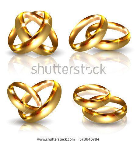 Set of Golden Wedding Rings Isolated on White Background. Luxury 3D Vector Illustration