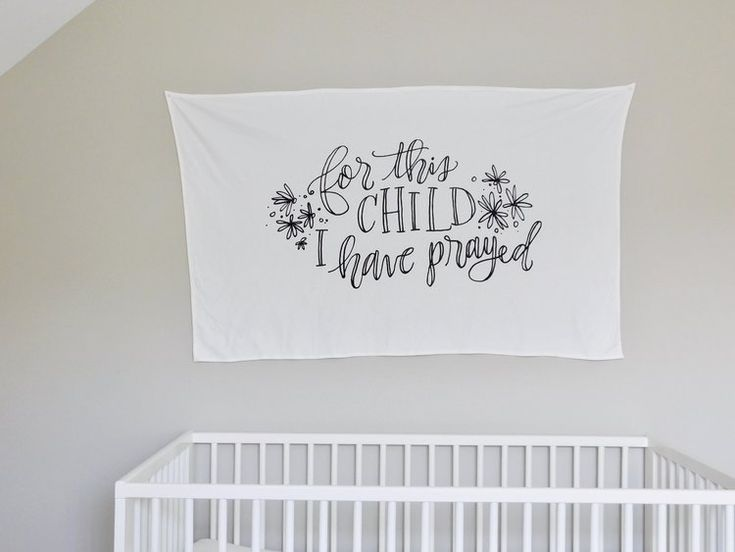 """This blanket has a Bible verse/quote (1 Samuel 1:27) that says: """"For this child I have prayed"""".This handmade baby blanket was created for the purpose of keeping your baby wrapped up snug! It is the perfect size to grow with your baby, so that they can still use it as a blanket when they are in their crib or toddler bed. Both the security blanket and swaddle blanket sizes can be used as a tapestry at a baby shower or on a wall in your baby's nursery."""