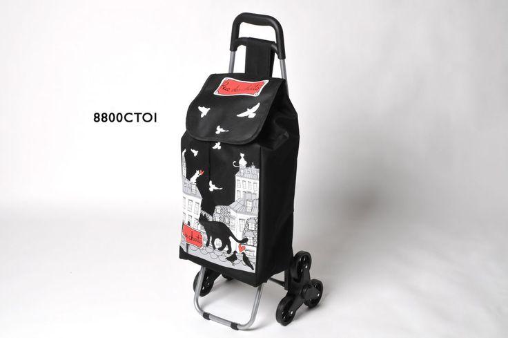 faire les courses avec un très joli chariot pliable imperméable au décor noir blanc rouge. 97 x37 x37 muni de trois roulettes pour une conduite très confortable