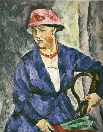 Portrait of Olga Konchalovskaya, wife of the artist, in blue, 1919  Pyotr Konchalovsky