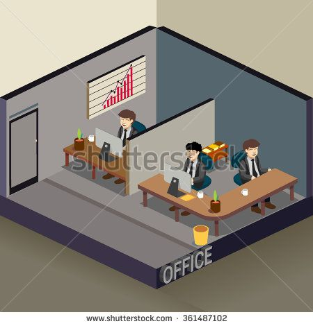 3D Isometric office. detailed interior vector illustration. - stock vector