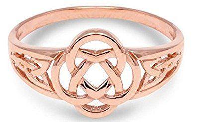 10k Rose Gold Ladies Trinity Triquetra Ring