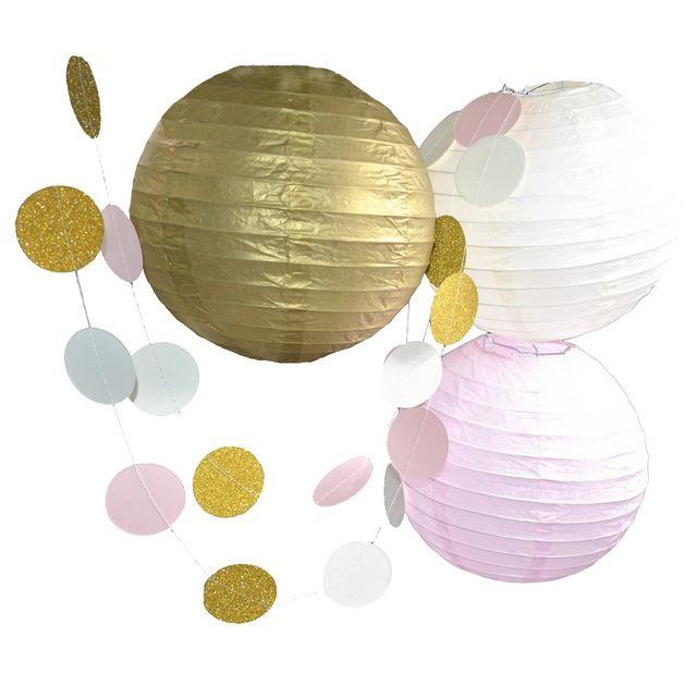 Beige roze goud papier lantaarn bruiloft guirlande verjaardagsfeestje evenement festival decoratie 4 stks/set bruiloft decoratie set