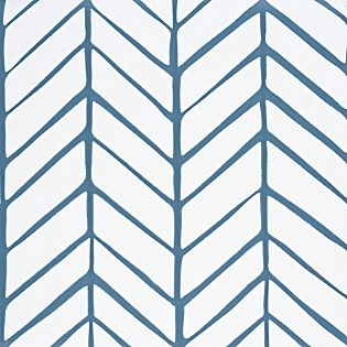 Feather Wallpaper - Denim | Serena & Lily Master bedroom accent wall