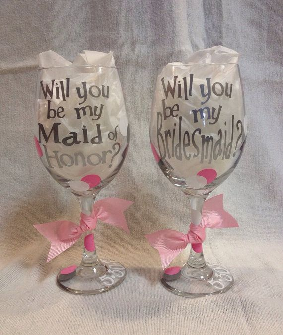 will you be my maid of honor wine glass