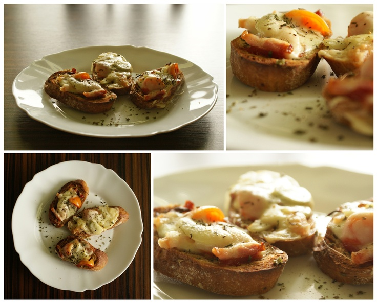 baked baguette with bacon, onions, cherry tomatoes and mozzarella