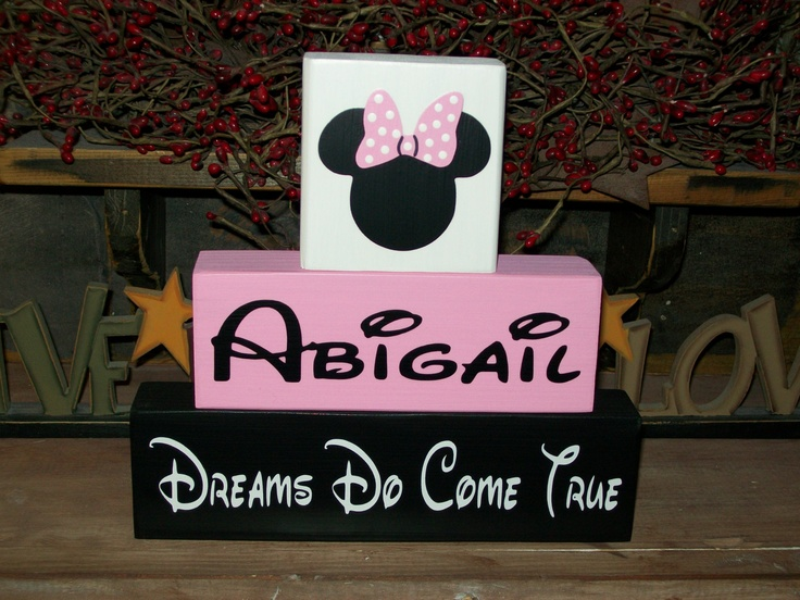 Personalized Minnie Mouse Wood Sign Shelf Blocks Dreams Do Come True Nursery Kids Room Decor Baby Girls Boys Kids. $22.99, via Etsy.