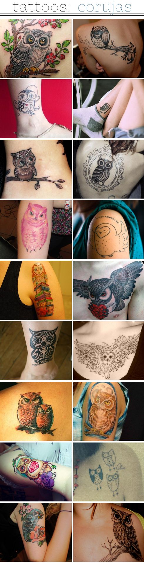 owl tattoos - one of these people have an owl that looks just like mine. They are different but very similar. Third down on the left. Must be based off the same painting. WILD!