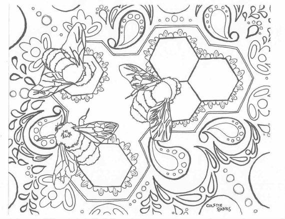 Bohemian Adult Coloring Page Bees Zentangle Aztec Tribal Inspired Digital Download