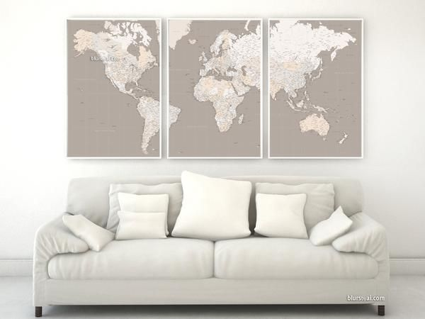 "Highly detailed word map poster set in earth tones, set of 3 split posters in 24x36"" each, no quote"