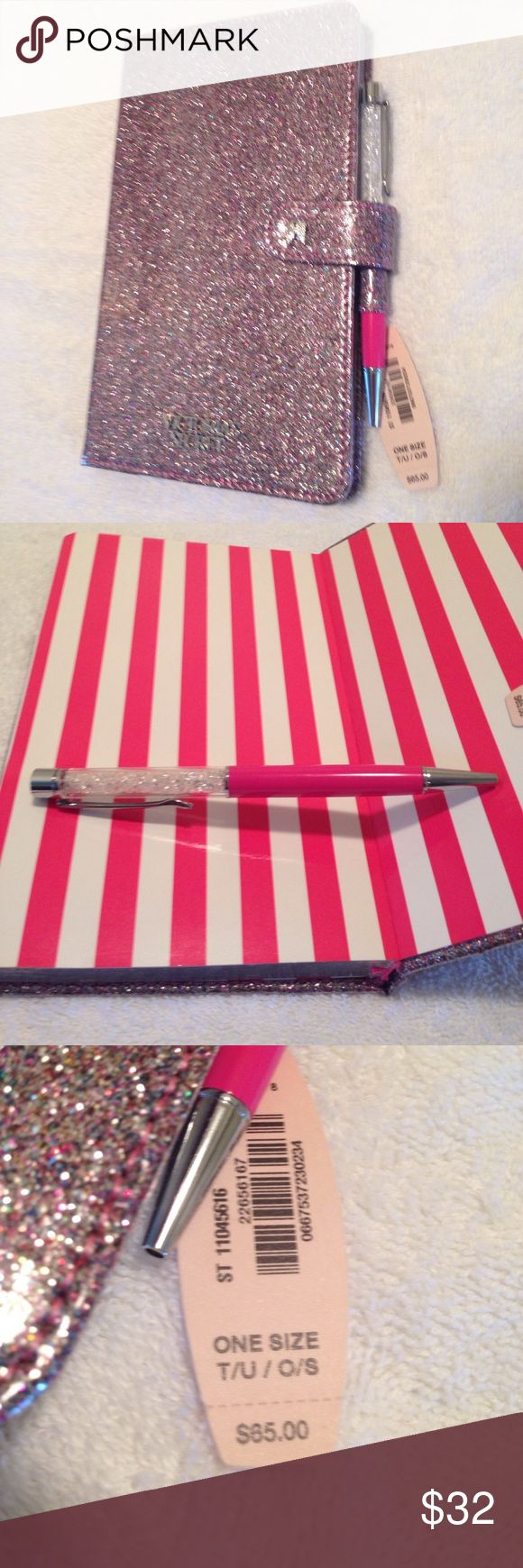 Victoria's Secret Notebook+ + Sparkly ink pen. Has new tags and no pages have been used. Closer keeps book clean and cloeses with aid of a magnet. Very nice item! My price $32.15    In our Drawer 23 Accessories