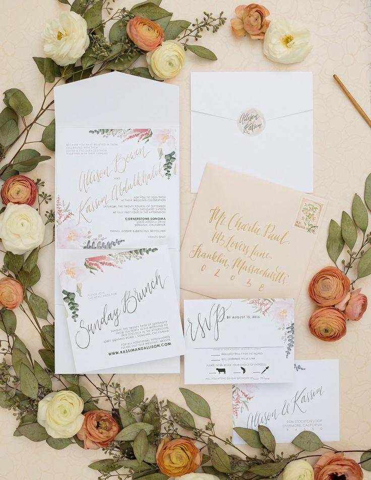 romantic watercolor foil wedding invitations blush white
