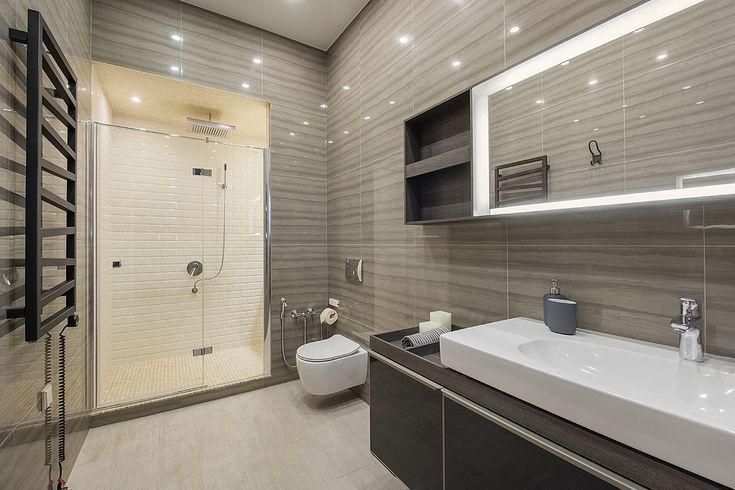 Интерьер ванной комнаты из проекта Трёхкомнатная квартира в современном городском стиле. Автор Насонова Анна