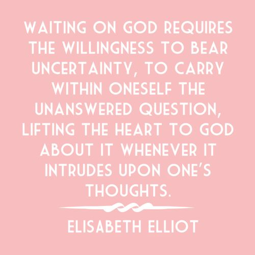 Waiting on God requires the willingness to bear uncertainty, to carry within oneself the unanswered question, lifting the heart to God about it whenever it intrudes upon one's thoughts.  -Elizabeth Elliot  Pink