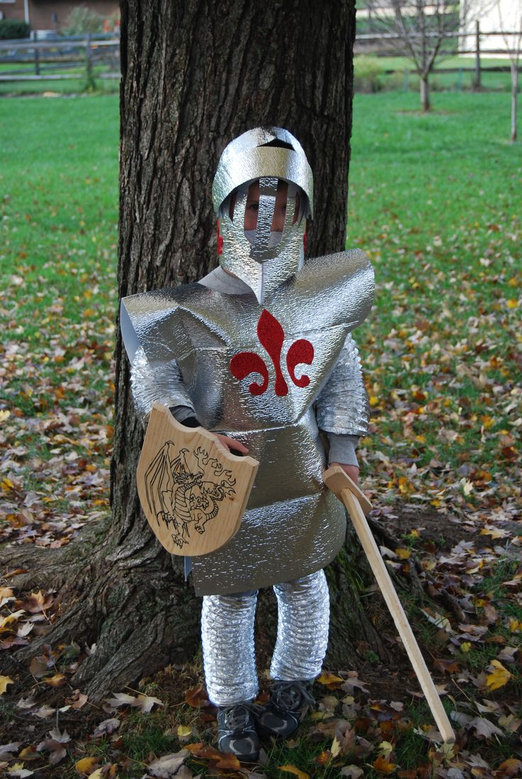 Knight Halloween costume DIY. Using a car window shade for armor, great idea. I'm going to do something different for the helmet and a few more tweaks but this is a great starting plan for my knight: 'Sir Vincent'!