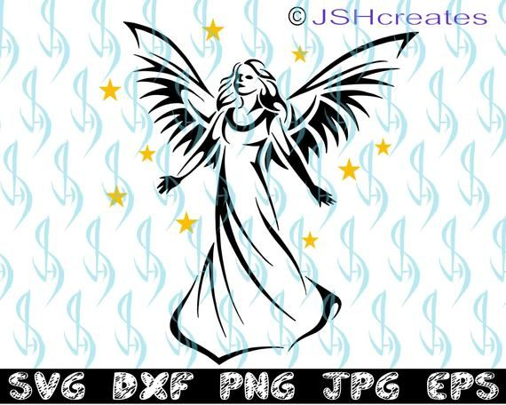 Angel Svg Guardian Angel Svg Svg Clipart Decal Eps Dxf Etsy In 2021 Angel Wings Clip Art Angel Decals Angel Vector