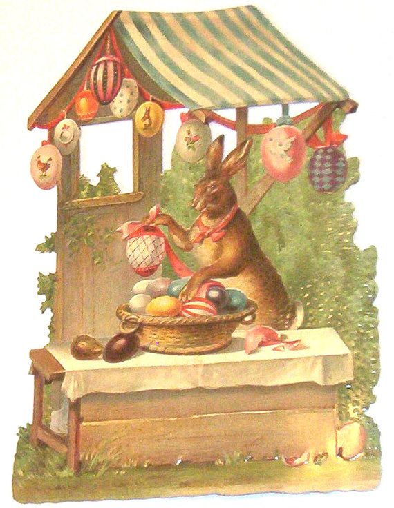 New German Large diecut scrap Cute Easter bunny rabbit w eggs house scrapbooking card making paper art craft EF 5130