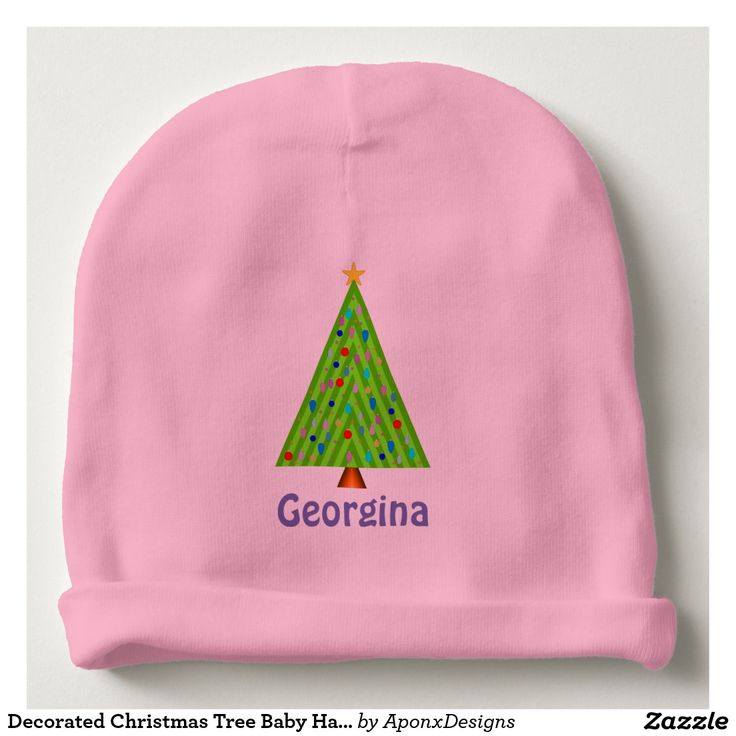 Decorated Christmas Tree Baby Hat (Custom Name)