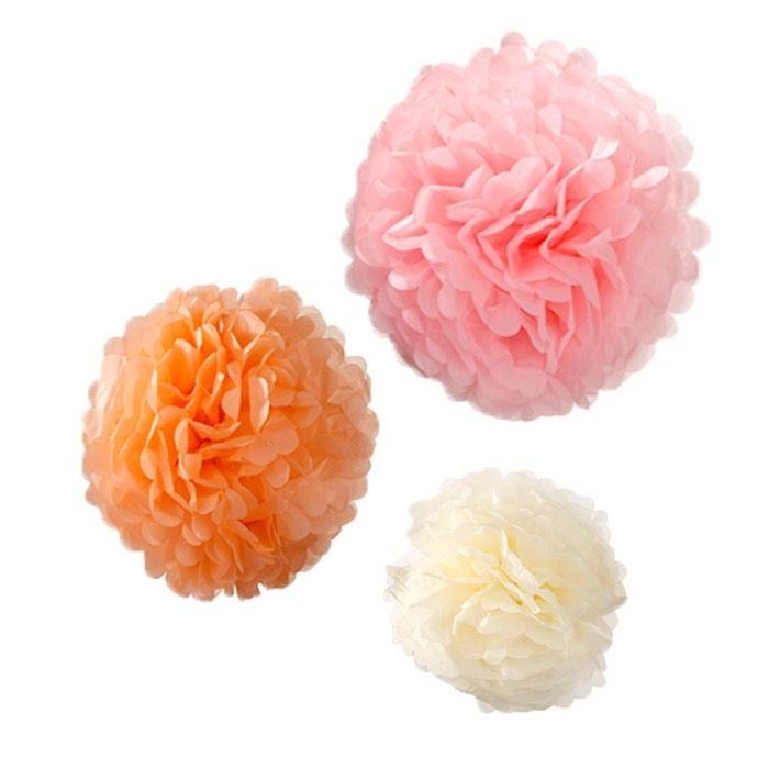 Decoratie Pompons - www.confettienco.be #decoratie #verjaardag #feest #pompon #kleur #colour #webshop #ivoor #rose #perzik #oranje