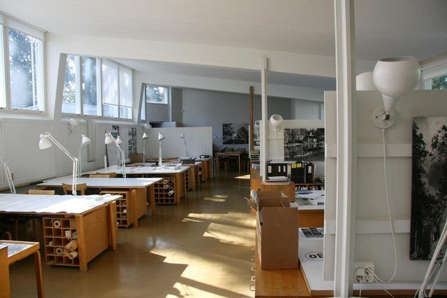 Alvar Alto's Office:  double drafting tables