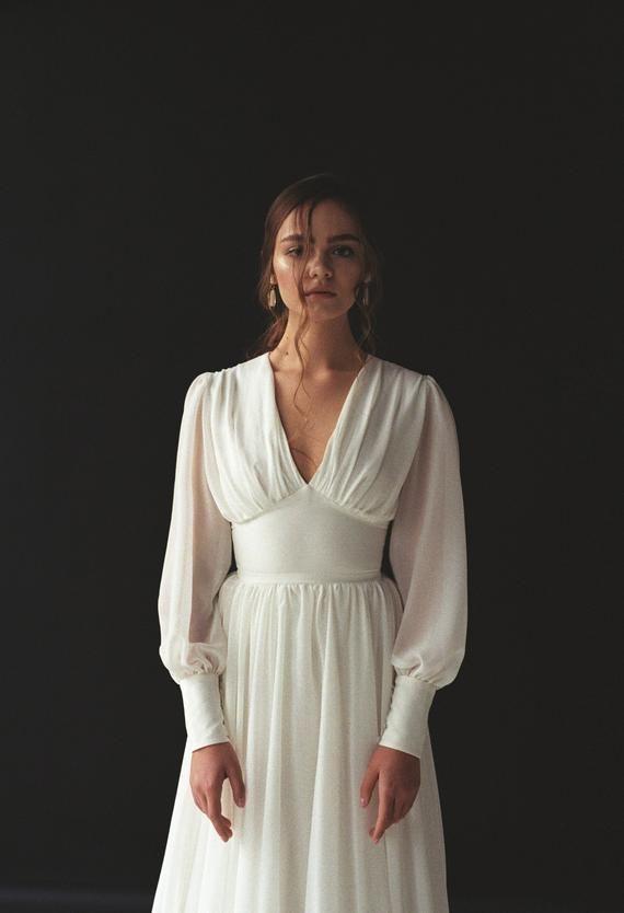 Long sleeve wedding dress Boho bishop sleeve wedding dress Bohemian V-neck wedding dress Chiffon wedding gown Modern minimalist dress THEIA 3