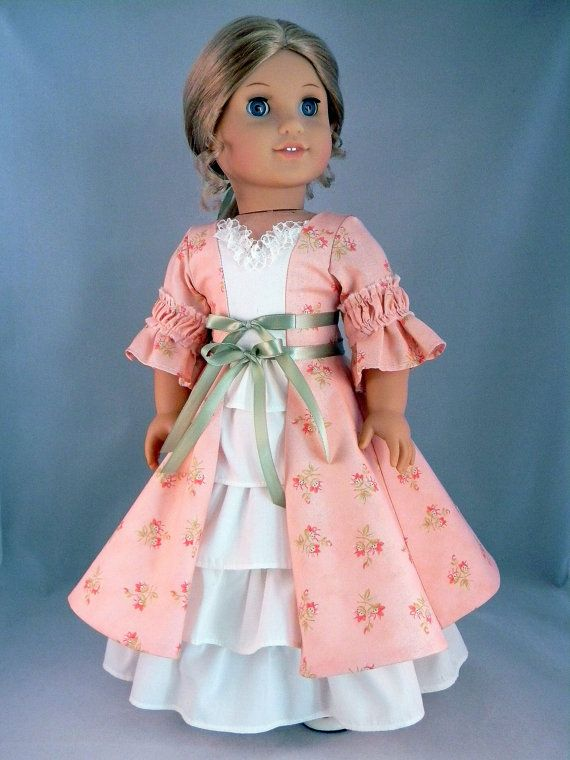 "Colonial style dress and petticoat for Elizabeth/Felicity 18"" American Girl Doll - An original design from Bringing Joy"