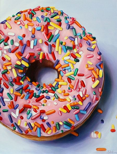 Donut painting by | Sarah E. Wain - what a beauty - her food paintings are gorgeous!!