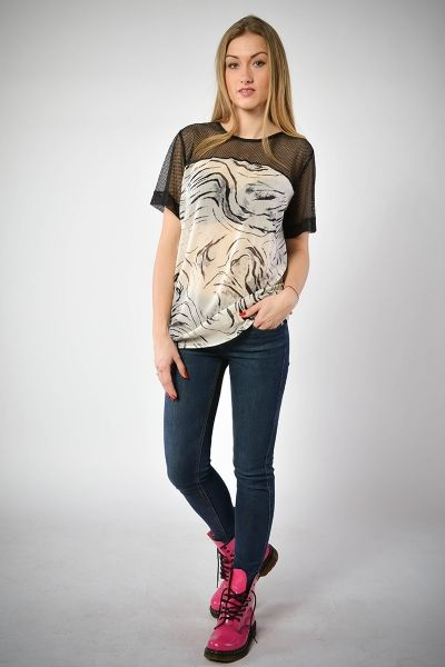 T-shirt - jedwabna zebra z siatką - model 05