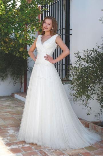Áčkový střih Jaro Bez rukávů Svatební šaty 2013