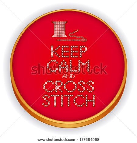 Needle and Thread Keep Calm and Cross Stitch Embroidery Sampler on retro  wood embroidery sewing hoop, isolated on white background.  - stock photo