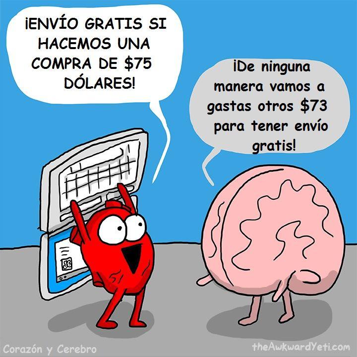 Corazon vs cerebro en las divertidas ilustraciones de Awkward Yeti   #ilustraciones #cerebro #corazón #awkwardyeti