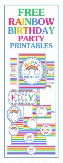 Rainbow party ideas: free rainbow party printables, ideas, links to purchase rainbow products