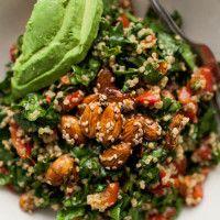 Sesame-Almond + Avocado Spinach Salad