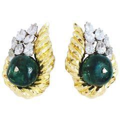 1960 Vybrané David Webb Emerald Diamond Gold Platinum uší