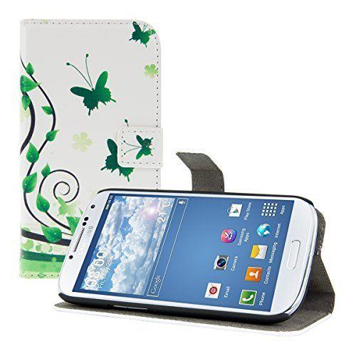 kwmobile® Custodia chic in pelle per Samsung Galaxy S3 i9300 / S3 Neo i9301 con pratica funzione di supporto - Fantasia farfalla, colore Bianco Verde, http://www.amazon.it/dp/B00OBN89R8/ref=cm_sw_r_pi_awdl_9yPSub10WQ701