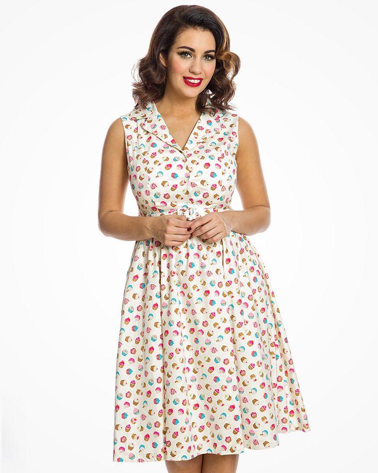 'Matilda' Cream Cupcake Print Rockabilly Shirt Dress - Dresses With Pockets - Shop by Shape - Dresses
