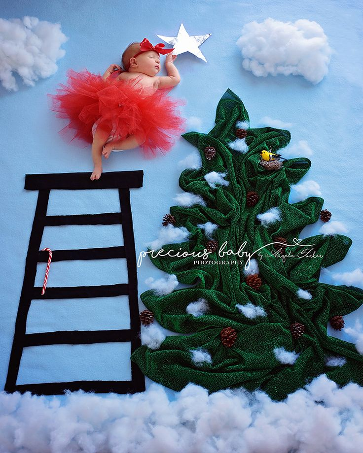 cute funny girl on ladder putting star on Christmas tree Baby ImaginArt baby seen newborn Precious baby photography Angela Forker unique Fort Wayne New Haven Indiana