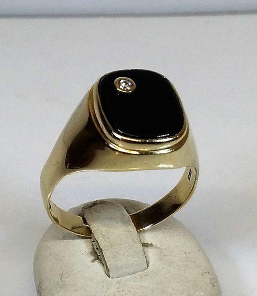 Vintage Ringe - Herrenring Gold 585 Lagenstein Onyx Diamant GR224 - ein Designerstück von Atelier-Regina bei DaWanda