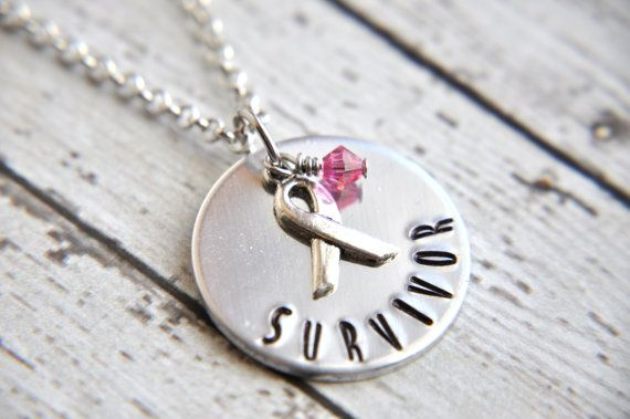 Survivor Necklace  Hand Stamped Necklace  Cancer by SoSimplyQuaint