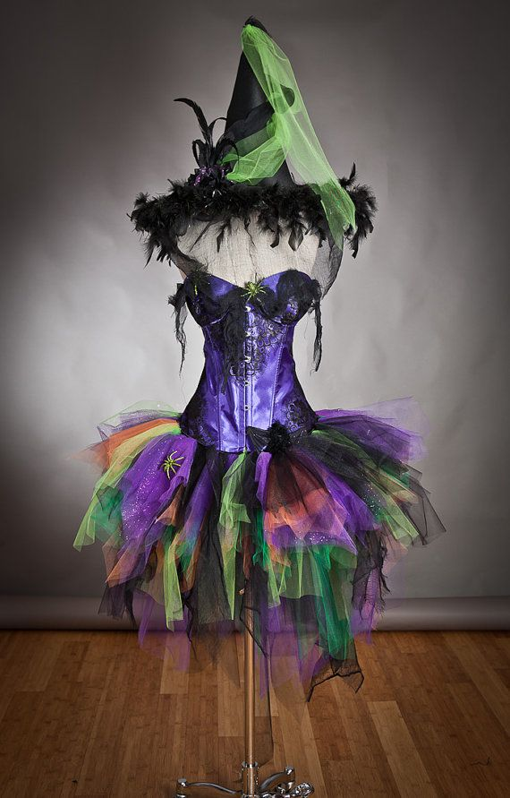 Light up Purple Orange Green and Black Feather Burlesque Corset Witch Spider costume with Hat.  FRIGHTENINGLY FABULOUS!!!