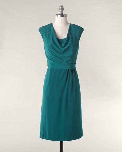 Captivating cowl dress from Coldwater Creek - a perfect LBDCaptive Cowls, Engagement Pictures, Clothing, Coldwater Creek, Cowls Dresses, Wide Belts, Turquoise Dresses, Green Dresses