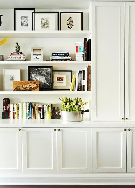 Built in shelving and open shelf styling