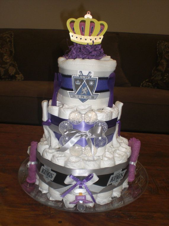 Cost of Diaper Cakes | La Kings Diaper Cake Baby Shower gift Hockey Baby
