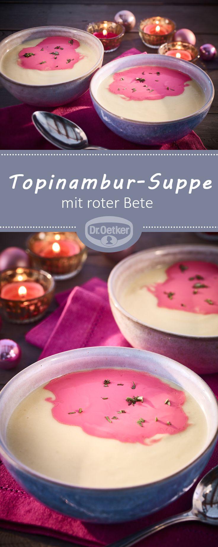 Topinambur-Suppe: Erdartischocken-Cremesuppe raffiniert mit roter Bete
