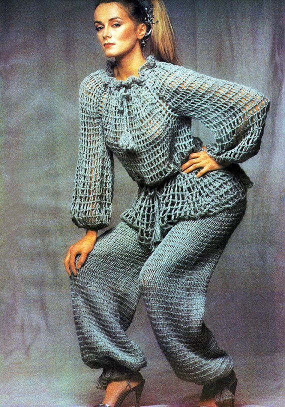 Vintage 1970's Crochet Pattern   Lacy Mesh Gypsy Tunic Top Blouse  Crocheted Peasant Pants  by 2ndlookvintage, $5.50