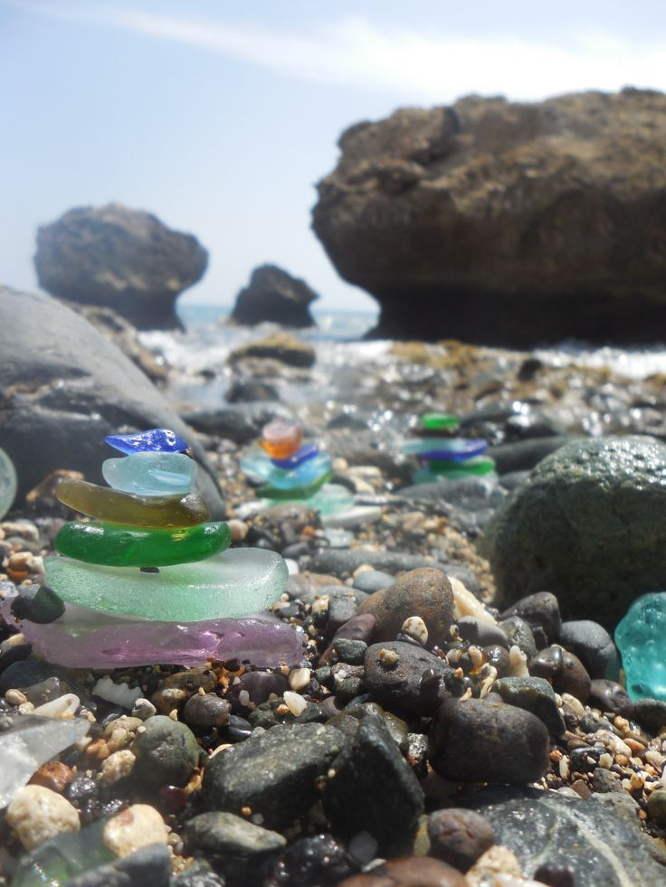 Stacked sea glass at Glass Beach in Guantanamo Bay, Cuba.