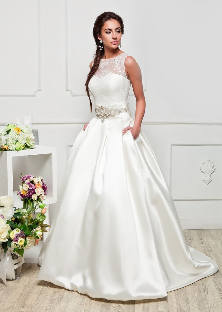 Satin Wedding Dress Long Ball Gown                                                                                                                                                                                 More