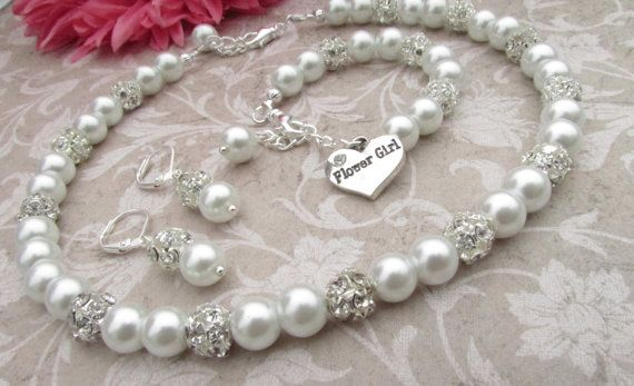 Flower Girl Jewelry Set Bridal Pearls Junior by LilykayCouture