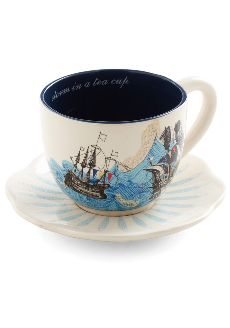 Swell Mornings Mug.  So incredibly adorable, such a clever idea for a tea cup: Disasters Design, Teas Time, Vintage Kitchens, Teas Cups, Swelling Mornings, Novelty Prints, Cups Nautical Teas, Retro Vintage, Coworking Jealous